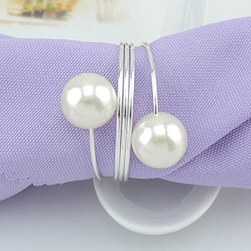 wonlex Pearl Napkin Rings Set of 12, Silver Napkin Ring Pearls for Easter, Thanksgiving Day, Christmas, Birthday Party and Table(Pearls)]()