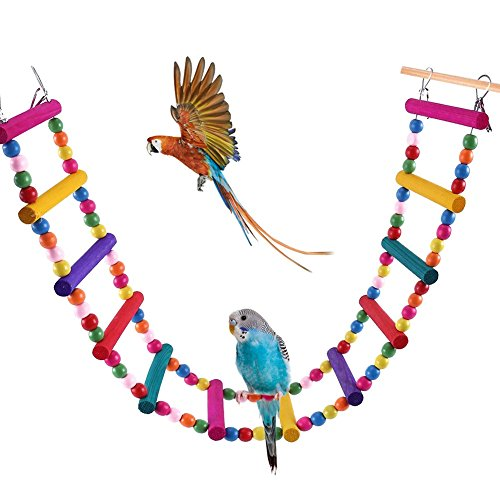 Bonaweite Bird Parrot Toys, Naturals Rope Colorful Step Ladder Swing Bridge for Pet Trainning Playing, Flexible Birds…