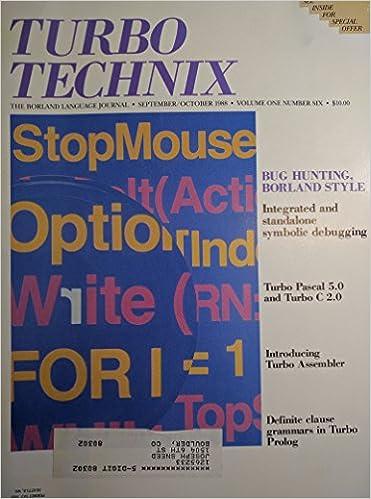 Turbo Technix The Borland Language Journal September/October 1988 Volume One Number Six: Amazon.com: Books