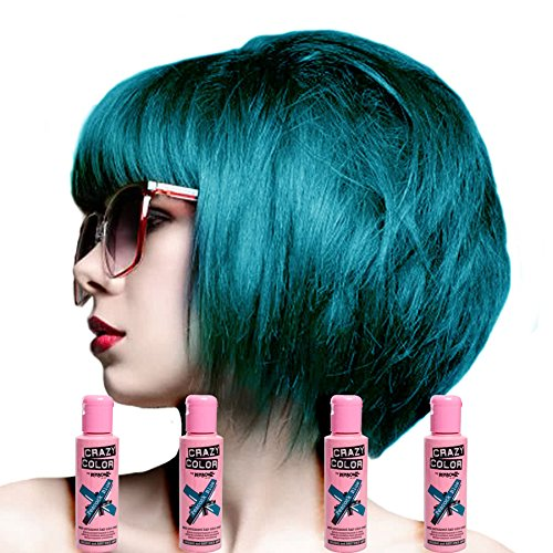 Crazy Color Peacock Blue No.45 (100ml) Box of 4 - Semi Permanent Colour Hair Dye by Crazy Color
