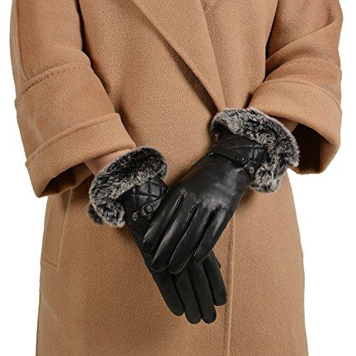 GSG Womens Warm Italian Nappa Leather Gloves Winter Luxury Genuine Rex Rabbit Fur Cuff Lady Non Touchscreen 7.5 Black Christmas