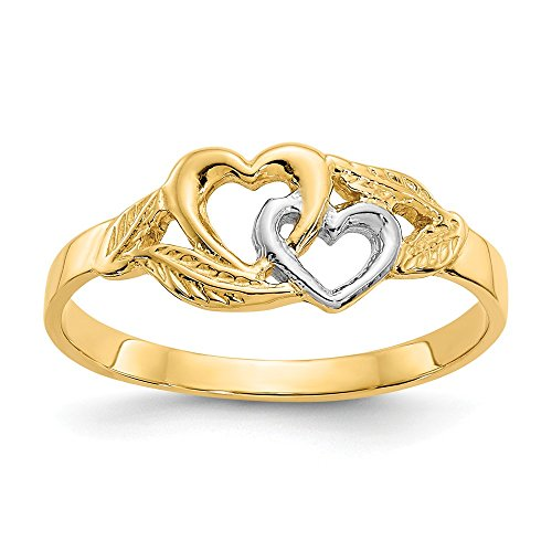 Size 7 - Solid 14k Yellow and White Gold Two Tone Double Heart Cut-Out Ring -