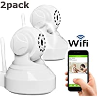 Coolcam WiFi IP Network Camera, Wireless, Video Monitoring, Surveillance, Security Camera, Plug/Play, Pan/Tilt with 2-Way Audio and Night Vision Set of 2