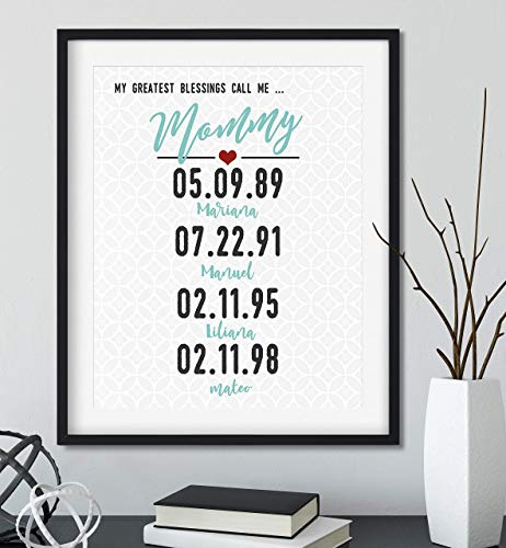 My Greatest Blessings Call Me Mommy with Your Dates and Names, Black Frame Available, You Choose Colors
