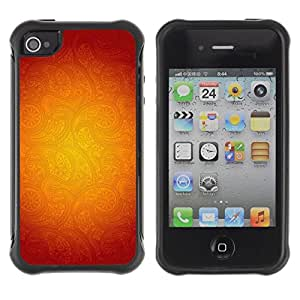 Suave TPU GEL Carcasa Funda Silicona Blando Estuche Caso de protección (para) Apple Iphone 4 / 4S / CECELL Phone case / / Gold Floral Pattern Red Abstract Warm /
