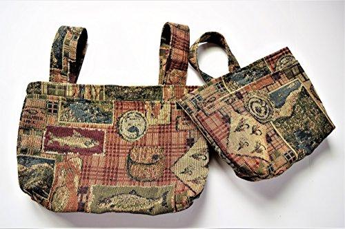 Tapestry Fishing Collage Walker Bag or Wheelchair Bag,Hook & Loop Straps,Walker Bag,Two or Three Pockets,Medium Bike Bag,Desk Chair Over ()
