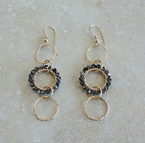 k Gold Filled Circle Earrings Wire Wrapped With Silver Shade Swarovski ()