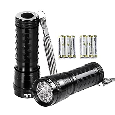 LE 2 Pack LED Flashlight Battery Operated Torch light, Handheld Flashlights, Outdoor Hand Tools