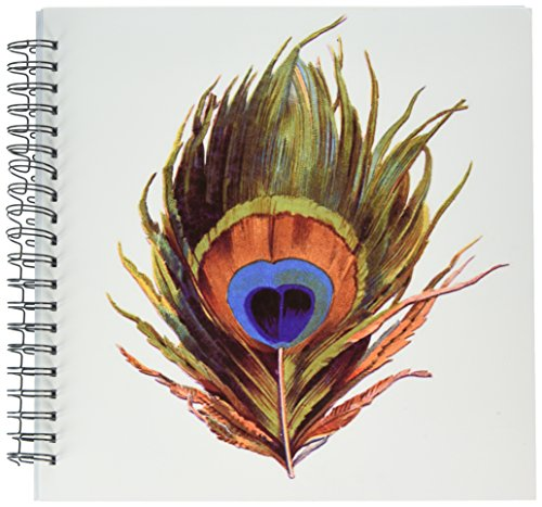 3dRose db_37447_2 Large Colorful Peacock Feather Memory Book, 12 by - Notepad Feathers Peacock