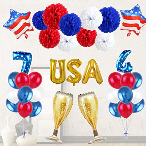 Independence Day Decor Star Latex Foil Balloon,July 4th Decor Gift for Friends,July 4th American Independence Day Family Decorative Balloons Trimming,Special Decor for Night Celebration Party - 3rd Flag National
