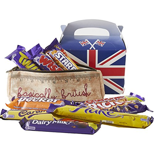 English Food (Cadbury's chocolate 10 full size bars by The Yummy Palette | British candy Cadbury Dairy Milk Cadbury Flake Cadbury Crunchie British food 10 chocolates with Basically British Retro Pencil Case)