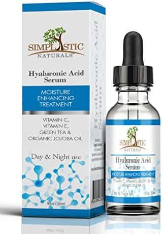 Simplistic Naturals Hyaluronic Acid Serum – Natural Anti-Aging Moisturizer and Skincare Treatment – Vitamins C and E, Green Tea, Organic Jojoba Oil – Cleaner, Healthier, Radiant Skin