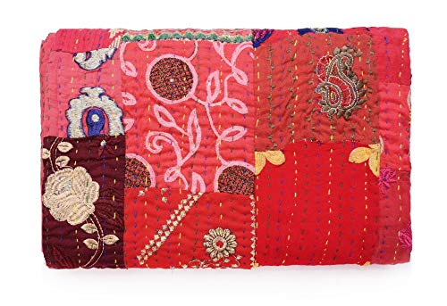 Sophia Art Handmade Vintage Patchwork King Size Home Decorative Kantha Reversible Quilt, Kantha Bedspread, Indian Blanket, Kantha Throw, Coverlet 90X108 inches (Red) (Indian Embroidery Bedspread)