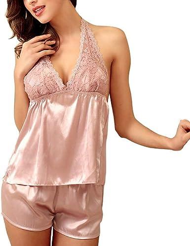 2 Piezas Pijamas De Satén Pijama De Lujo Pijamas Cortos Mujer ...