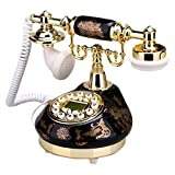TelPal Corded Old Fashion Antique Landline Telephone Decor 1960, Wired Home Office Telephone Decor System, Ceramic Antique Style ( Black )
