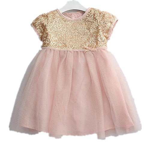 Baby Girls' Sequined Satin Tulle Pink 1st Birthday Party ...