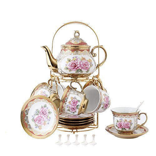 ufengke 13 Piece European Retro Titanium Ceramic Tea Set With Metal Holder, Porcelain Tea Cups Set, For Wedding, Red Rose Painting