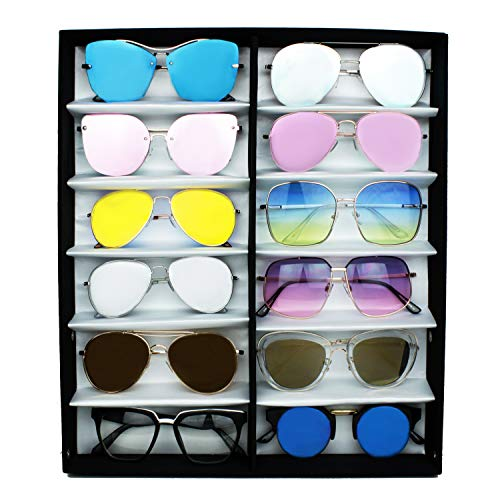V BY Vye Mystery Box - Sunglasses Organizer Case with an Assortment of 12 Randomly Selected Stylish Sunglasses Included