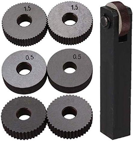 YINGJUN-DRESS Rändeln Cutting Tools Black & Silver Stahl Gerade Linear Rändel-Werkzeug-Set mit 0,5 mm 1,5 mm 2 mm Pitch einzelnen Rad Pack 7