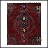 Leather Journal Book Seven Chakra Medieval Stone