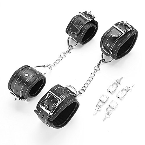 - exreizst Soft Comfortable Cuffs for Ankle-Hand-Wrist Adjustable Black Leather Cuffs Set Kit