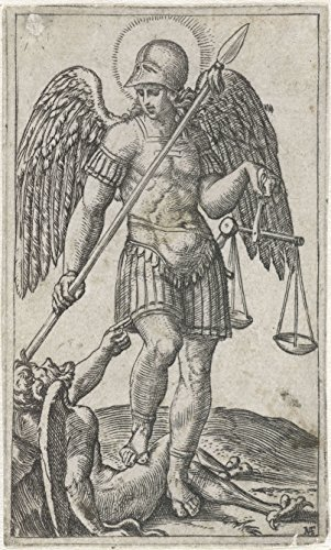 Classic Art Poster - Archangel Michael standing on devil with spear and scales, Marcantonio