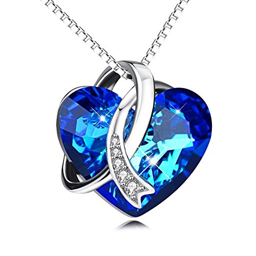Sterling Silver Love Heart Pendant Necklace with Swarovski Crystals