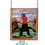 HF-88 Tiffany Style Stained Glass Golf Sport Window Hanging Glass Panel Sun Catcher, 18''Hx15''W