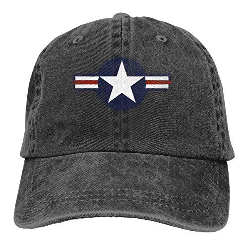 Adult Baseball Cap Denim Dad Hat Vintage Cowboy Trucker Cap USAF Roundel ()