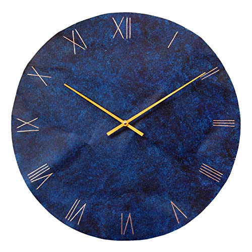 Large Round Copper Rustic Wall Clock 18-inch - Silent Non Ticking Gift for Home/Office/Kitchen/Bedroom/Living Room