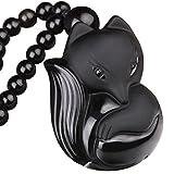 Black Obsidian Jewelry Pendant Amulet Gemstone Choker Lucky Fox Necklace for Women