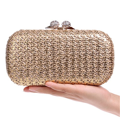 Women Evening Bags Diamonds Purse Metal Day Clutches Messenger Knitted Bag ()