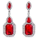 ruby crystal earrings - BriLove Women's Wedding Bridal Dangle Earrings Emerald Cut Crystal Infinity Figure 8 Chandelier Earrings Ruby Color Silver-Tone