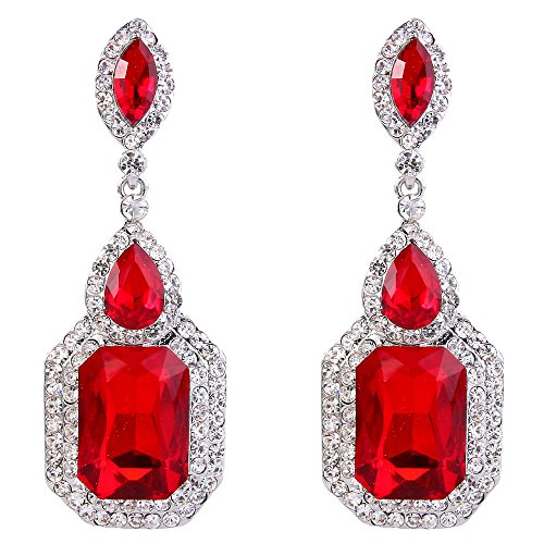 BriLove Women's Wedding Bridal Dangle Earrings Emerald Cut Crystal Infinity Figure 8 Chandelier Earrings Ruby Color Silver-Tone ()