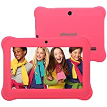 """Alldaymall 7"""" Android Tablet for Kids With Wi-Fi Quad Core and Dual Camera, 8GB, HD Kids Edition w/ iWawa Pre-Installed (Third generation A88S with Pink Kid-Proof Silicone Case)"""