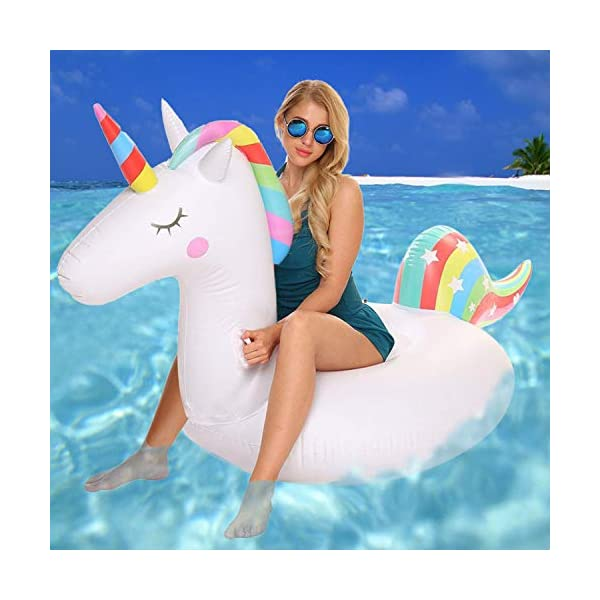 YAze Inflatable Unicorn Pool Float Animal Balloon Pool Tube Fun Beach Floaties Summer Pool Raft Lounge Swim Party Sports… 7