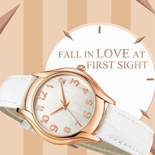Womens-Wrist-Watch-Stylish-Simple-RoseGold-Casual-Classic-Analog-Watches-With-Genuine-White-Leather-Band