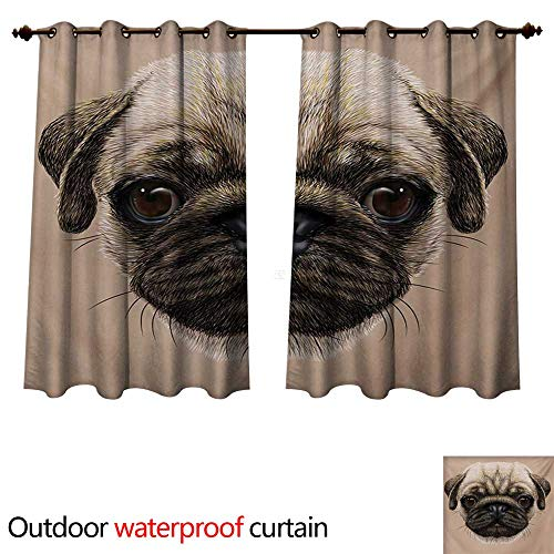 WilliamsDecor Pug Outdoor Curtain for Patio Detailed Portrait Drawing of a Dog Realistic Design of The Pet Animal Digital Art W72 x L72(183cm x 183cm)