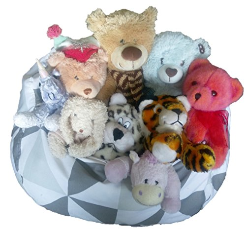 51UGEjVXXhL - Fun Stuffed Animal Storage Bean Bag Chair to Tame the Growing Pile of Stuffies, Doubles as a Kids Chair or an Ottoman for Extra Storage