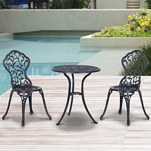 Outsunny 3 piece antique style outdoor patio bistro dining set black review - Chaise aluminium bistro ...