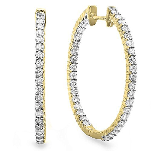 - Dazzlingrock Collection 0.90 Carat (ctw) 14K Round Diamond Ladies In and Out Hoop Earrings, Yellow Gold