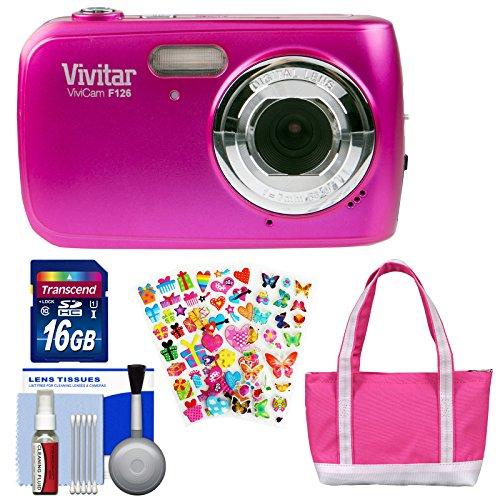 Vivitar ViviCam F126 Digital Camera (Pink) with 16GB Card + Bag + Stickers + Kit by Vivitar