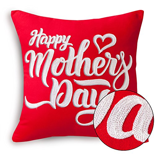 Happy Mothers Day Pillow Covers Love Heart Pattern Chain Embroidery Decorative Throw Pillow Cushion Covers Gift For Mom Square 18