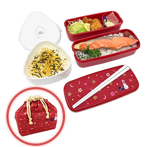 OSK Japanese Traditional Rabbit Blossom Bento Box Set with Giant Onigiri Box, Microwave-safe, Dishwasher-safe, Chopsticks, Bento Bag, Red by OSK
