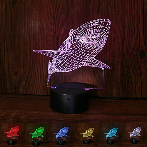 H+K+L 3D Shark Night Light with Remote Control Color Changing Optical Illusion Mood Lamp Nursery Home Light Party Decor ()