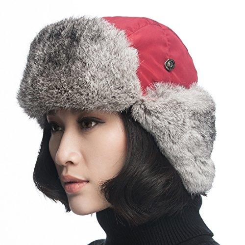 URSFUR Aviator Hat with Grey Rabbit Fur