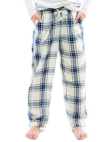TINFL Boys Plaid Check Soft 100% Cotton Lounge Pants BP-40-Whiteblue-YL
