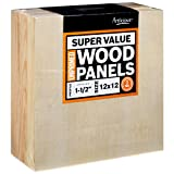 Artlicious 12x12 Super Value Wood Panel Boards for Art Painting 3 Pack - 1-1/2'' Gallery Profile