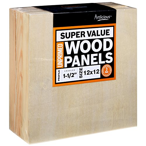 Artlicious 12x12 Super Value Wood Panel Boards for Art Painting 3 Pack - 1-1/2'' Gallery Profile by Artlicious