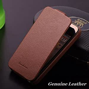 Fashion Logo Genuine Leather Flip Case for iphone 4 4S 4G Real Cowhide Slim Cover Vintage Luxury, 100pcs DHL wholesale, HLC0017 --- Color:hot pink